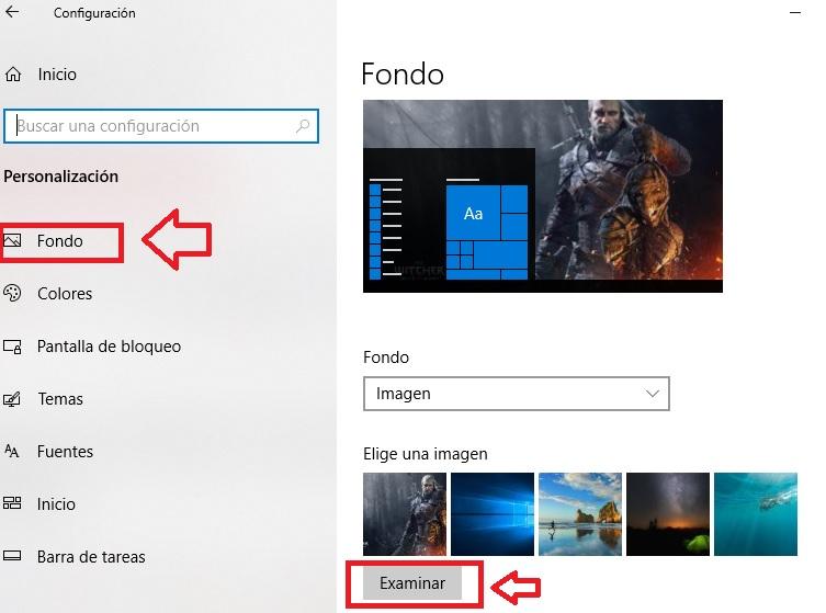 Cómo seleccionar un fondo en Windows 10