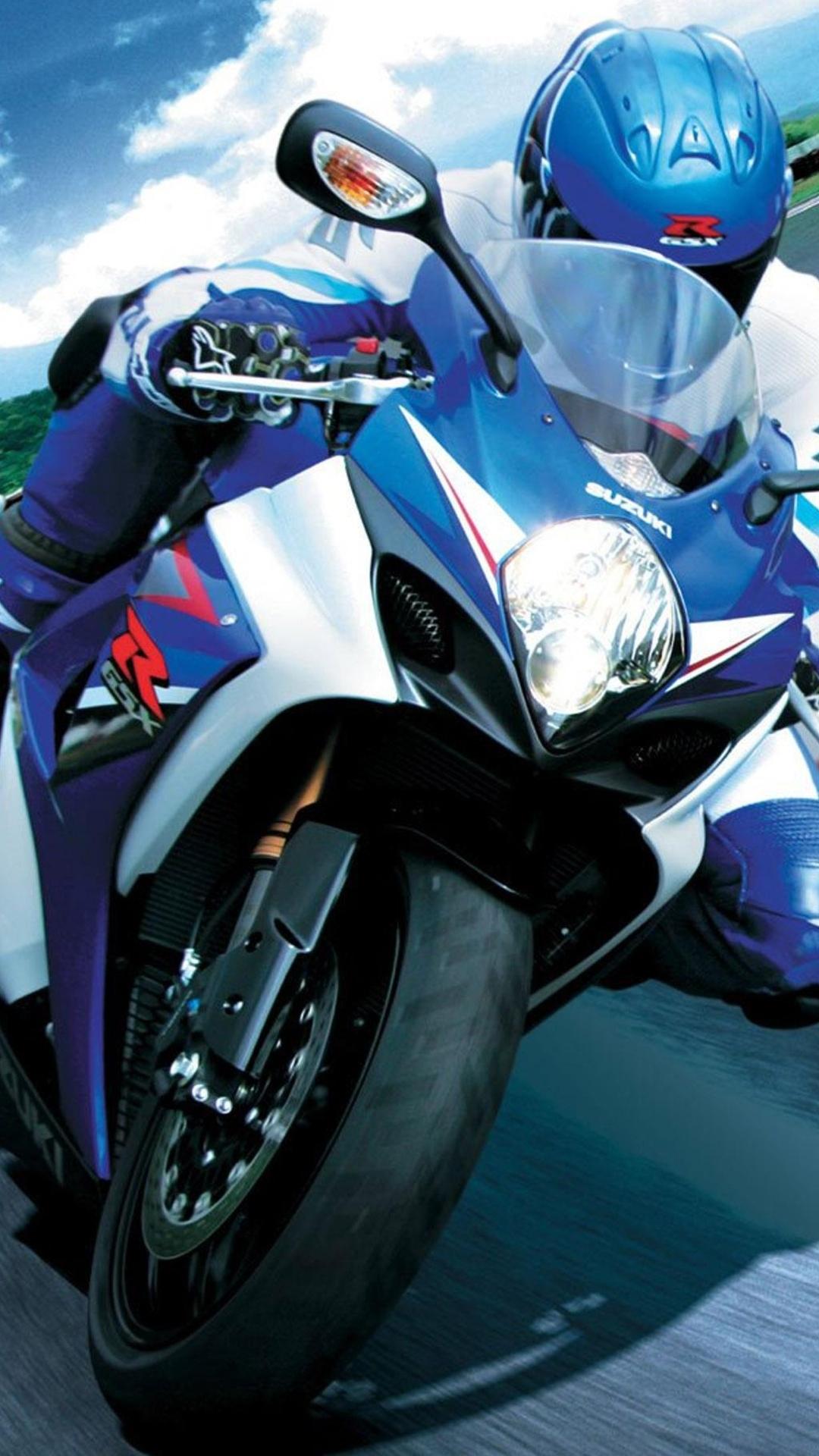 Fondo de pantalla con moto azul