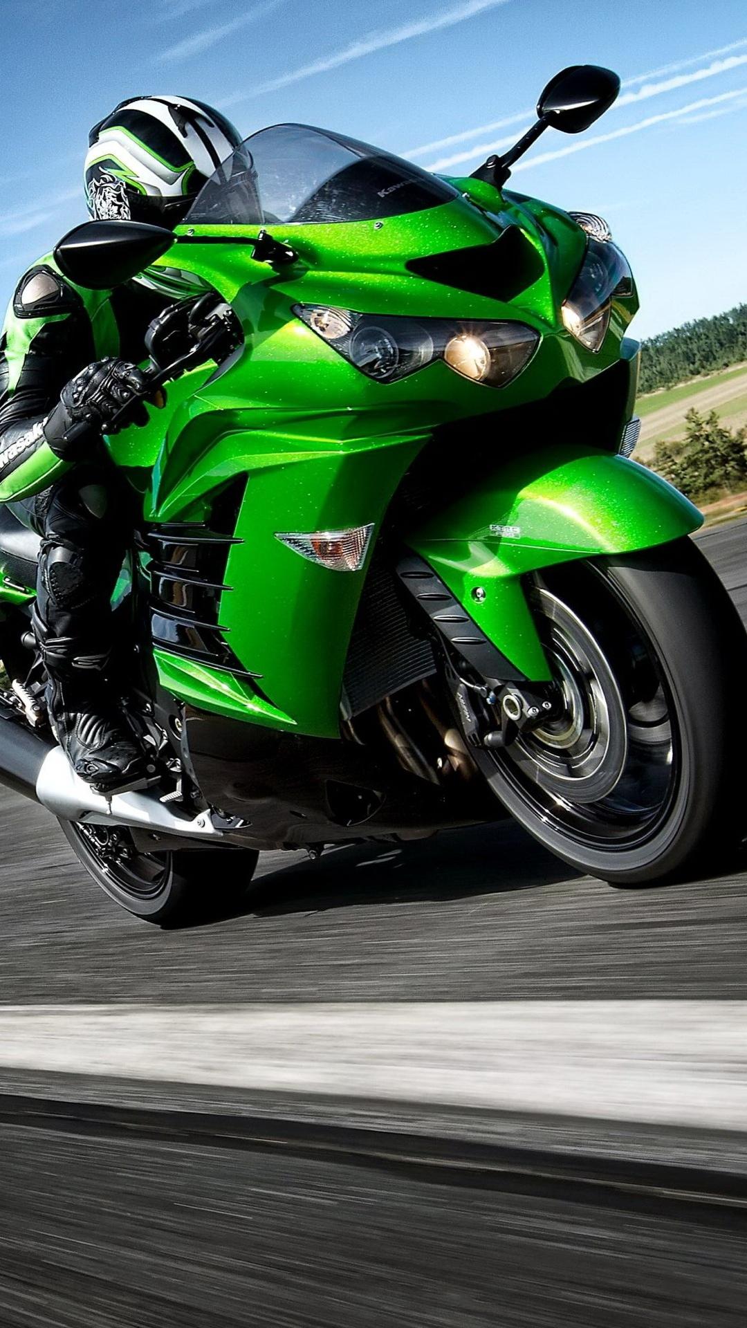 Fondo de pantalla con moto verde