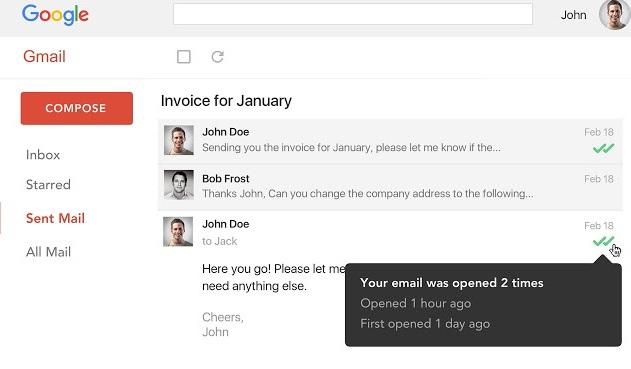 Interfaz de Mailtrack