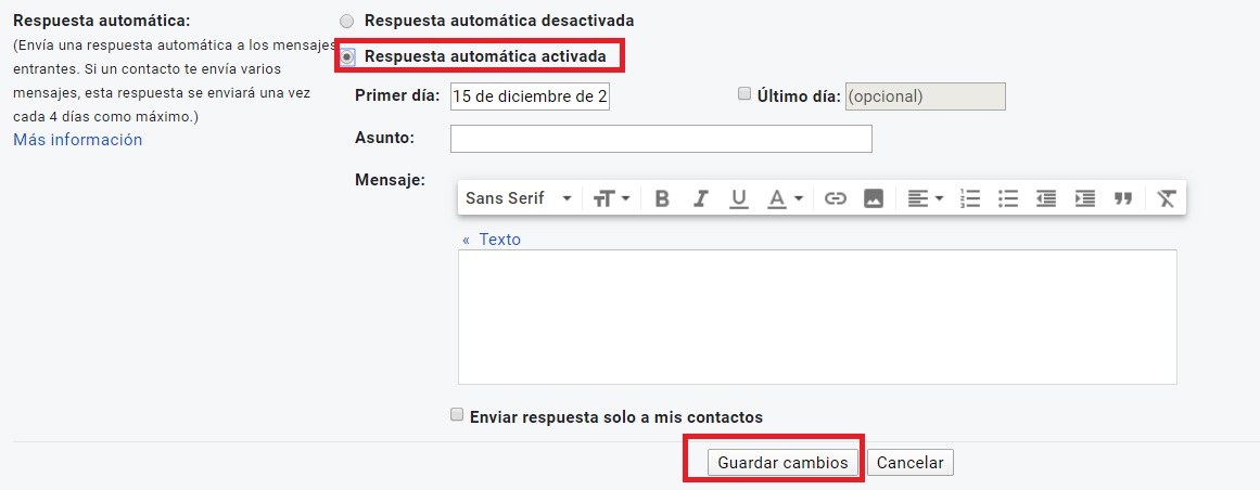Cómo activar las respuestas automáticas en Gmail