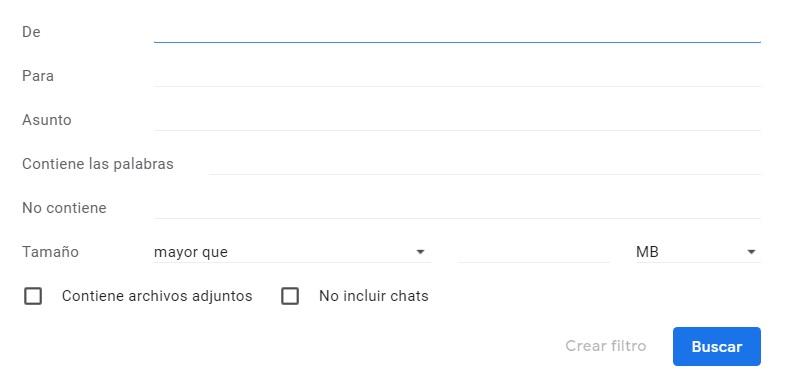 Menú para añadir filtros a Gmail