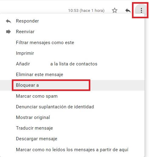 Bloquear un remitente de Gmail