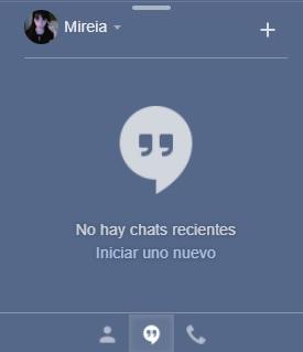 Interfaz de Hangouts en Gmail