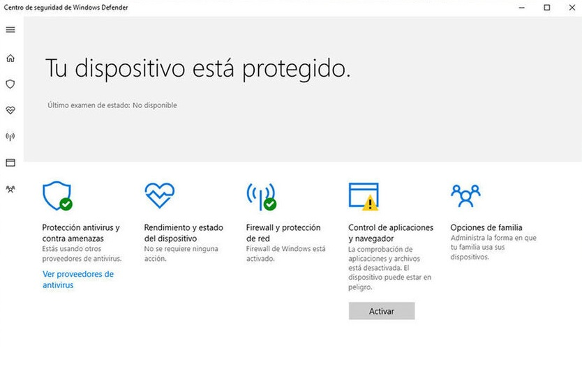 Interfaz de Windows Defender