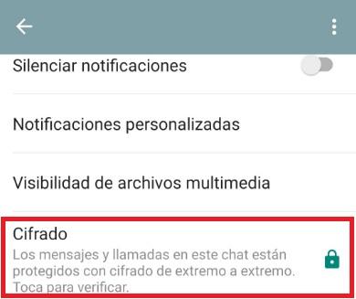 WhatsApp activar cifrado