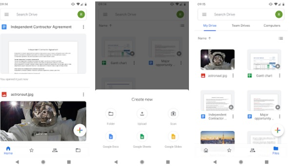 Interfaz de Google Drive para Android