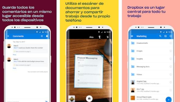 Interfaz de Dropbox para Android