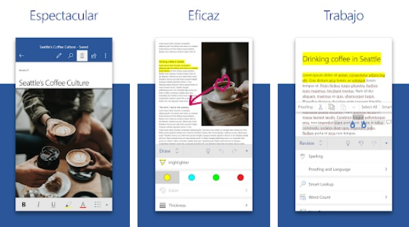 Interfaz de Word para Android