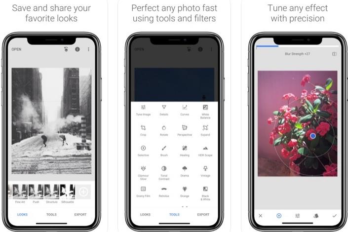 Interfaz de Snapseed para iOS
