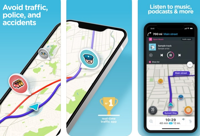 Interfaz de Waze en iTunes