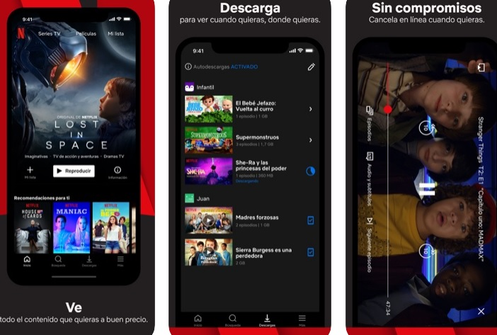 Interfaz de Netflix para iOS