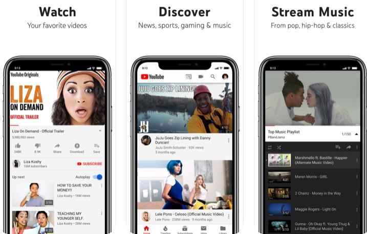 Interfaz de YouTube para iOS