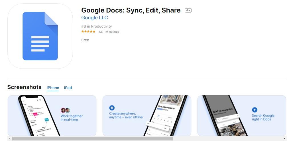 Interfaz de Google Docs