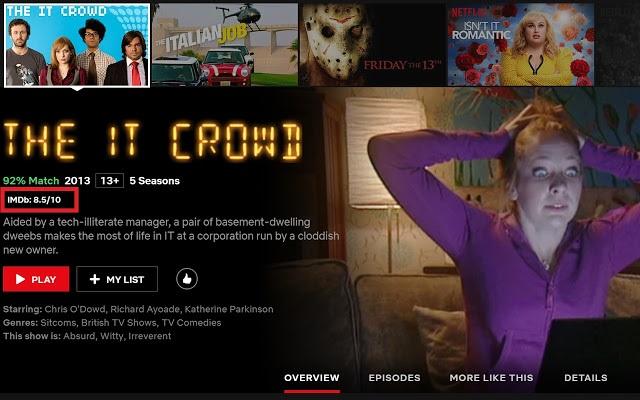 Catálogo de Netflix mostrando The IT Crowd
