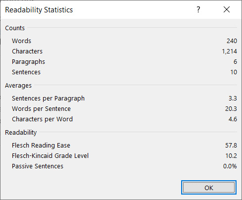 Readability on Microsoft Word