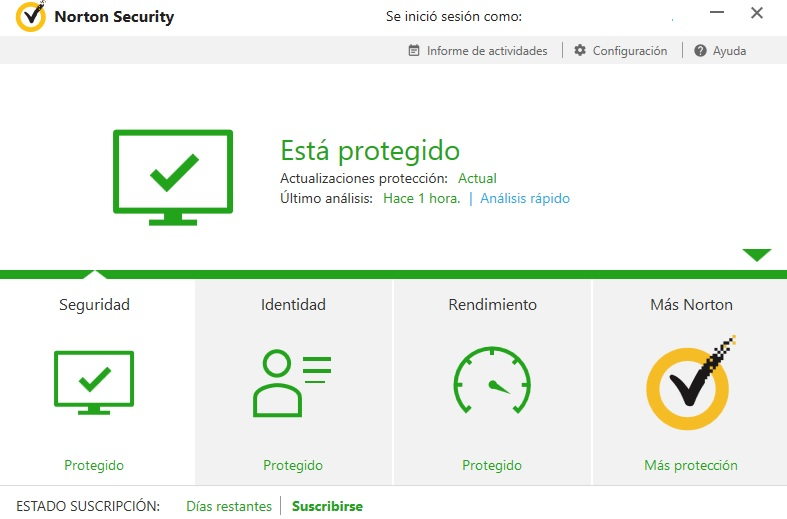 Interfaz de Norton Internet Security