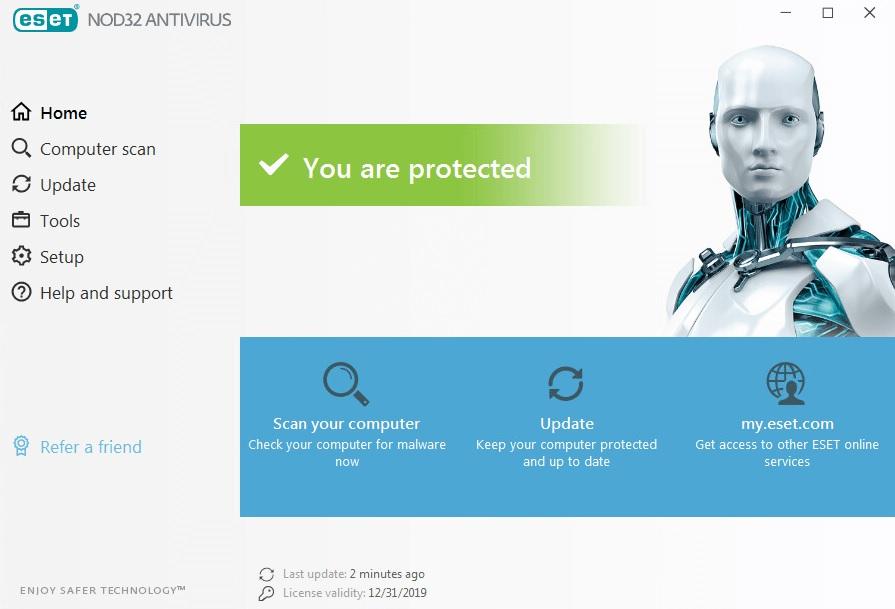 Interfaz de ESET antivirus