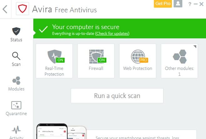 Interfaz de Avira Free Antivirus