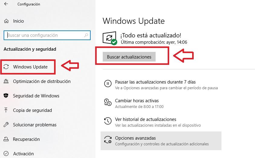 Interfaz de Windows Update