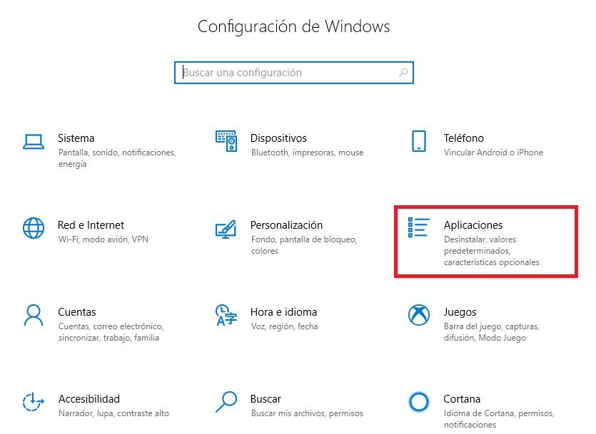 Acceder a Aplicaciones en Windows 10