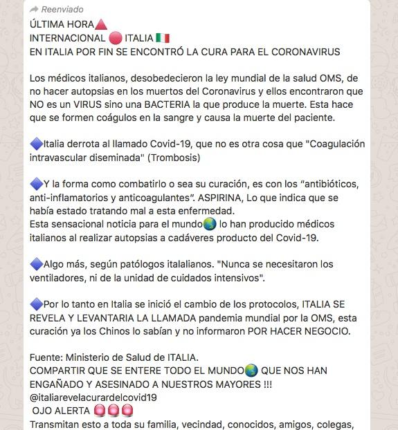 Bulo de Italia y la cura del coronavirus