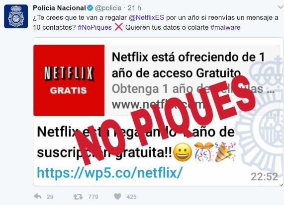 Bulo de la suscripción gratis a Netflix