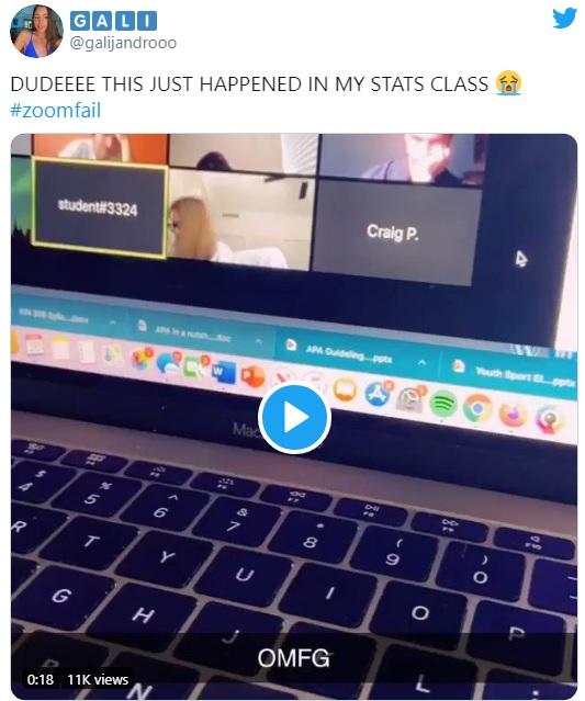Alumno rapeando en clase de Zoom