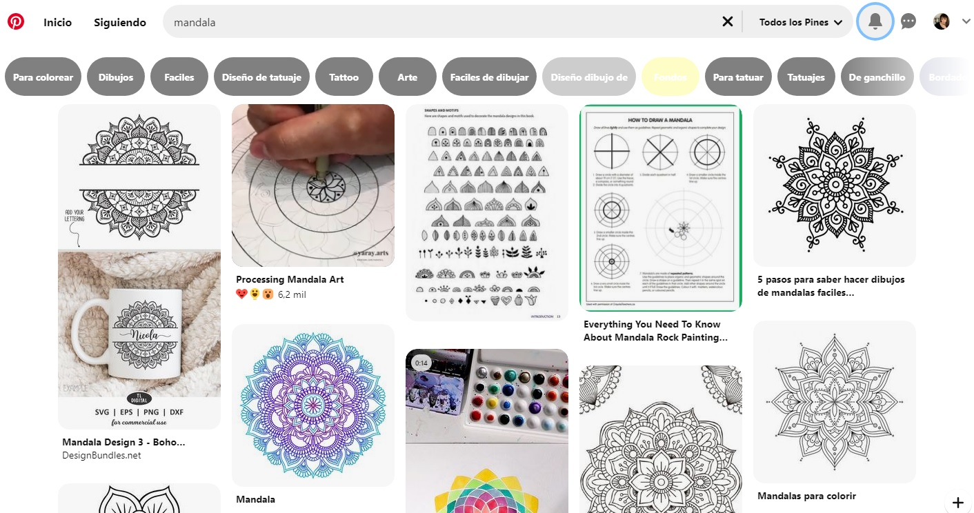 Interfaz de Pinterest