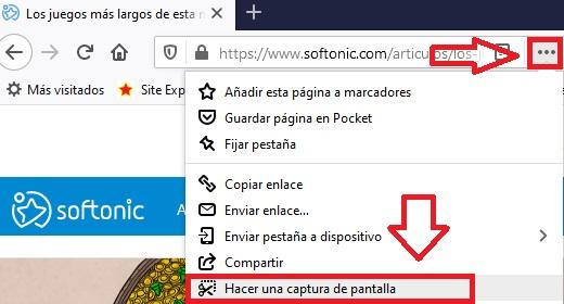 Capturas de pantalla en Firefox