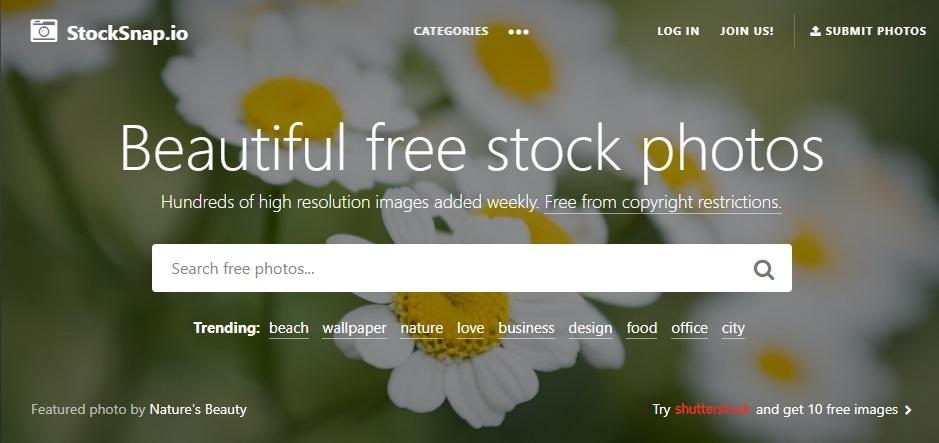 Página de StockSnap.io