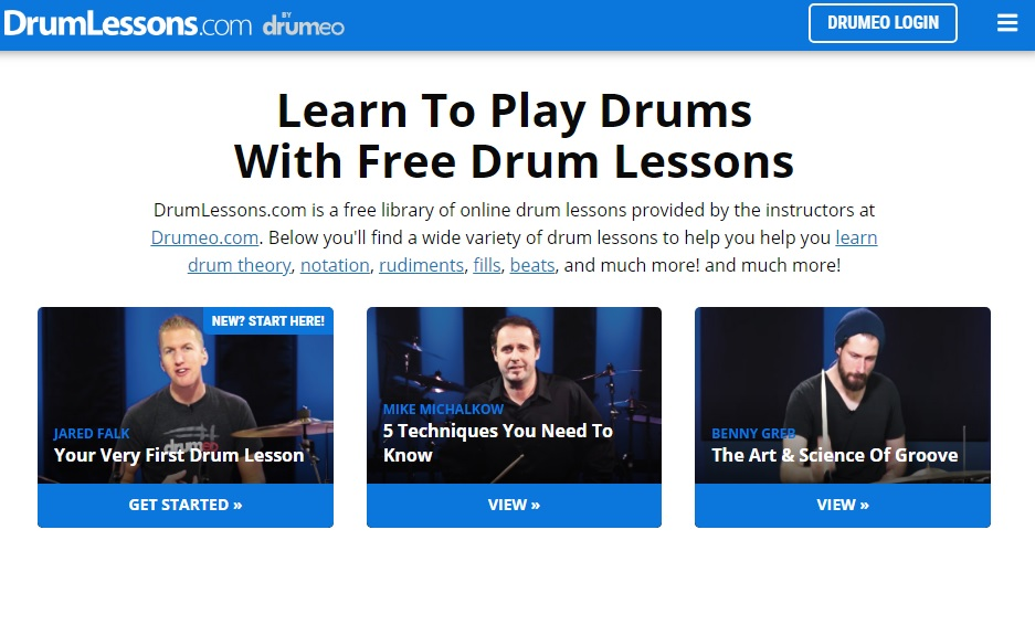 Página de Drum Lessons