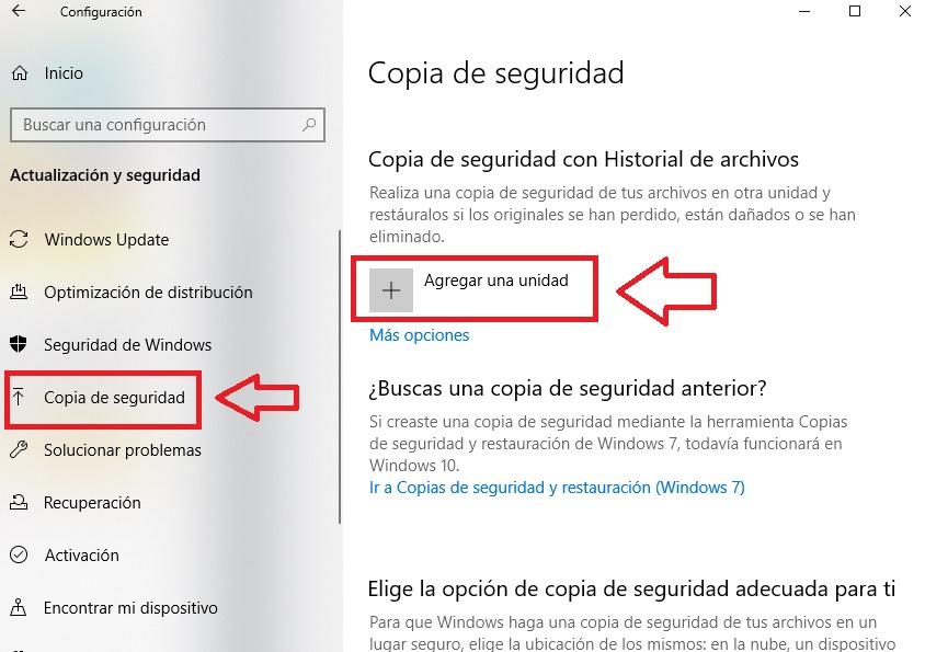 Menú de copia de seguridad de Windows 10