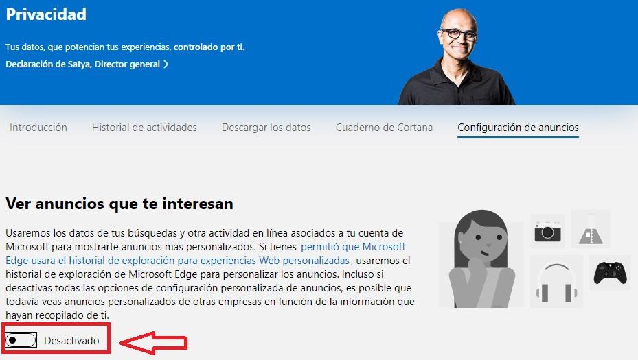Configuración de anuncios de Microsoft