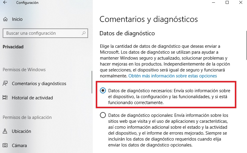 Comentarios de diagnóstico de Windows 10