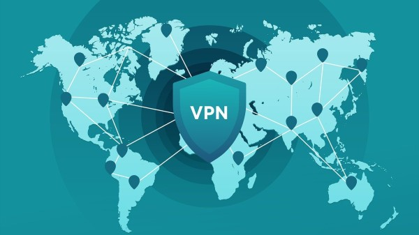 World map with VPN