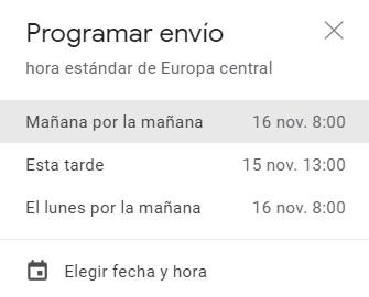 Programar envío de Gmail