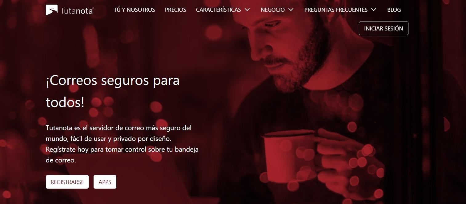 Página oficial de Tutanota