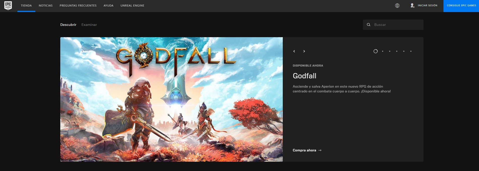 Página oficial de Epic Games Store