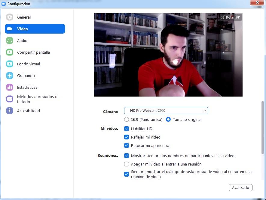 Cómo configurar la webcam en Zoom