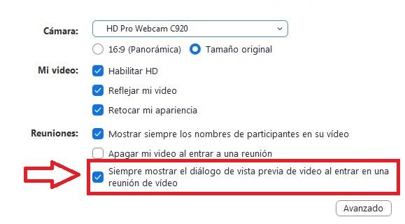Configuración de vídeo de Zoom