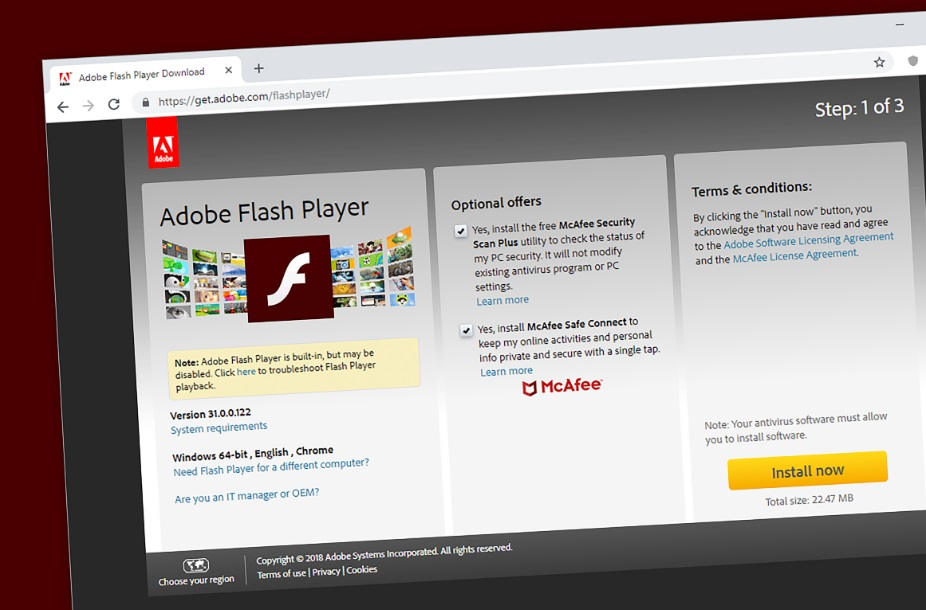 Página de descarga de Adobe Flash
