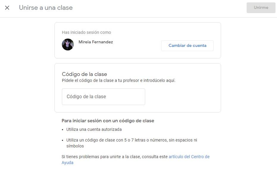 Unirte a una clase en Google Classroom