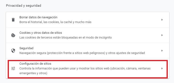 Configuración de sitios en Chrome