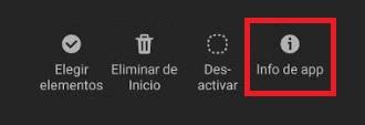 Info de la app en Android