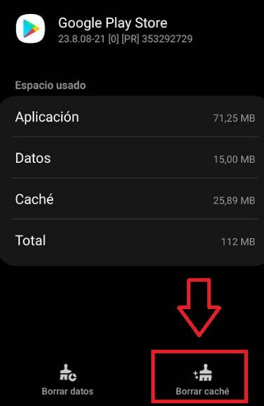 Borrar caché de Google Play
