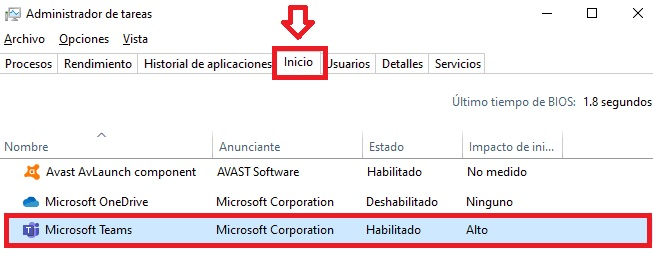 Desactivar Microsoft Teams