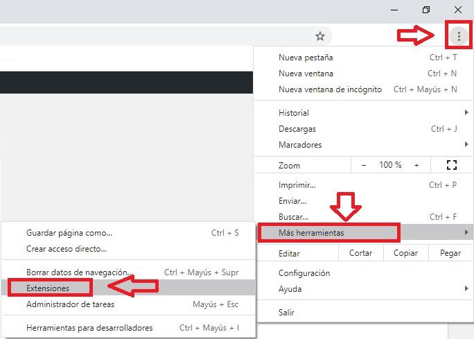 Menú de extensiones de Chrome