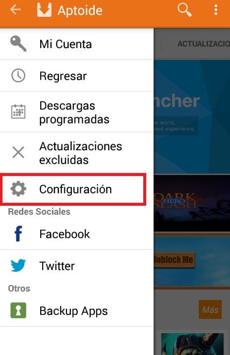 Configuración de Aptoide