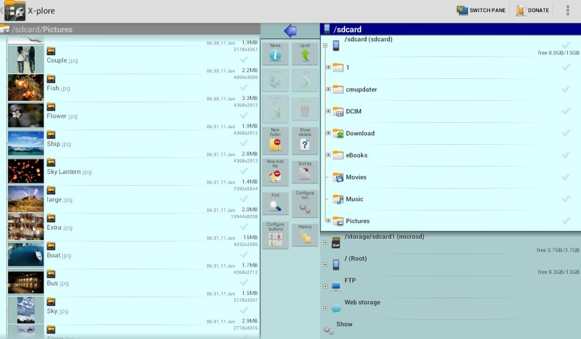 Interfaz de X-Plore File Manager
